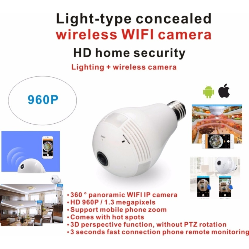 360 ?panoramic wireless WIFI IP camera HD 960P / 1.3 megapixels Panorama zoom Comes with hot spots Mobile remote HD home Night Vision indoor Call the police Phone APP Control Home Security CCTV Security NTSC System 3D hidden Camera