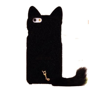 3D Adorable Fluffy Cat with Tail Back Phone Case Cover Skin for Apple iPhone 6 Plus/6s Plus 5.5 Inch Black