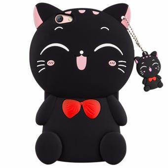 3D Cute Lucky Cat Smiling Fortune Cat Soft Silicon Back Cover CaseFor OPPO F1S / A59 - intl