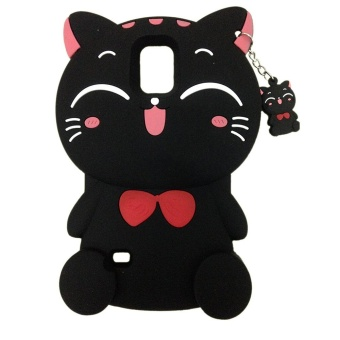 3D Cute Lucky Cat Smiling Fortune Cat Soft Silicon Back Cover CaseFor Samsung Galaxy S5 - intl