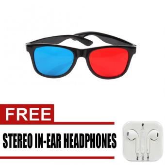 3D Glasses Anaglyph Glasses for Movie Game (Red/Blue) with freeStereo In-Ear Headphone (White) Price Philippines