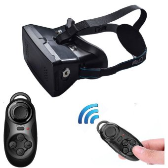 3D Video Glasses Universal Virtual Reality with Bluetooth Game Controller (Black)