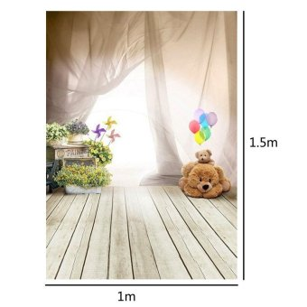 3x5FT Ballon Bear Studio Wooden Floor Photography Background Children Backdrops