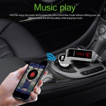 4-in-1 Hands Free Wireless Bluetooth FM Transmitter G7 + AUXModulator Car Kit MP3 Player SD USB LCD Car Accessories(Black) -intl Price Philippines