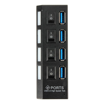4 Ports USB 3.0 HUB With On/Off Switch AC Power Adapter Cable EU