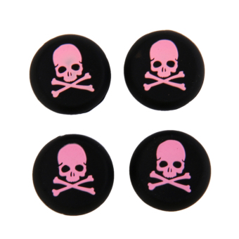 4x Pink Skull Joystick Thumbstick Caps for Sony PlayStation PS4 Controller
