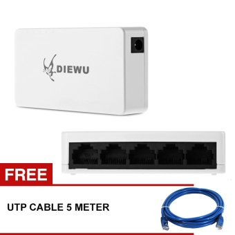 5 Port Ethernet Switch Network Hub 10/100Mbps with free 5M utpcable