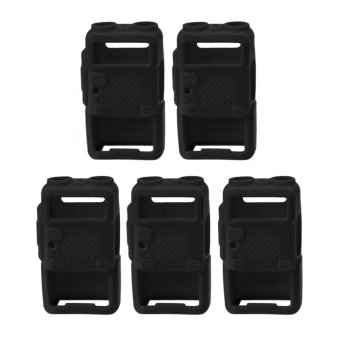 5PCS Walkie Talkie Protective Cover Rubber Soft Case For BaofengUV-5R (Black) - intl