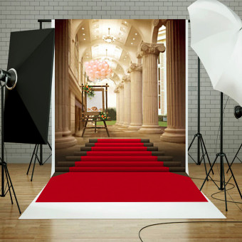 5x7ft European Palace Red Carpet Wedding Photography Background Studio Backdrop - 5