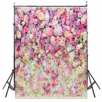 5x7FT Flower Wall Wood Floor Backdrop Studio Props Vinyl Photography Background