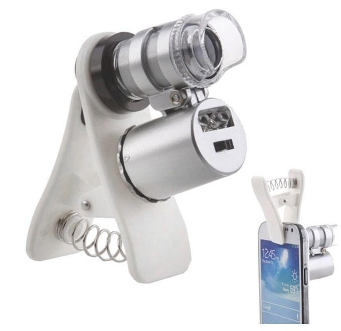 60X Zoom Mobile Phone Camera Optical LED UV Clip Magnifier Microscope Micro Lens SNO (Size: 60X)-White Clip - intl