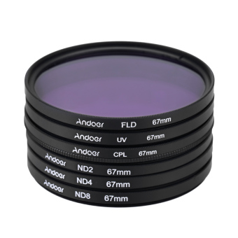 67mm UV+CPL+FLD+ND(ND2 ND4 ND8) Photography Filter Kit SetUltraviolet Circular-Polarizing Fluorescent Neutral Density Filterfor Nikon Canon Sony Pentax DSLRs