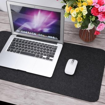 68x33cm Felts Table Mouse Pad Office Desk Laptop Mat Anti-static Computer PC Pads Dark Gray - intl