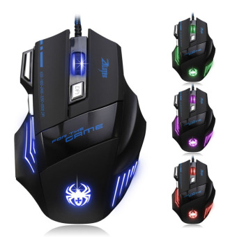 7 Button LED Optical USB Wired 5500 DPI Gaming PRO Mouse for Pro Gamer (Black)