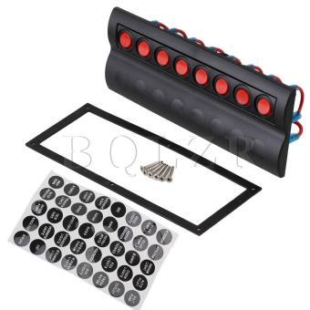 8 Gang Circuit Rocker Switch Panel LED Indicator Black