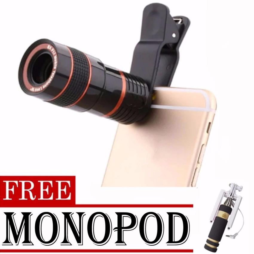 8x Zoom Universal Telescope Clip Lens for Smartphone (Black)withFREE Monopod (color may vary)