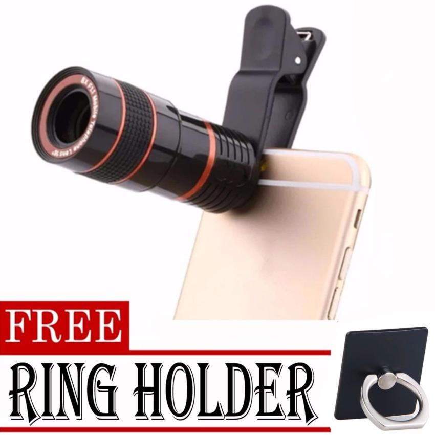 8x Zoom Universal Telescope Clip Lens for Smartphone (Black)withFREE Ring Holder (color may vary)