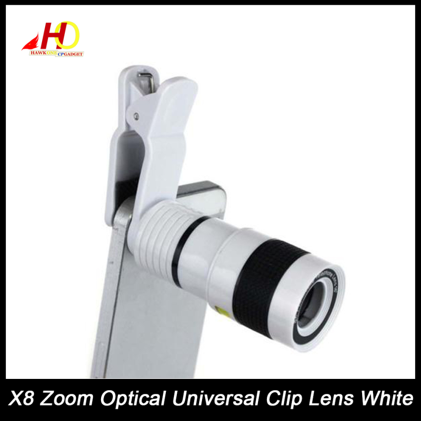 8x Zoom Universal Telescope Clip Lens for Smartphone (White)
