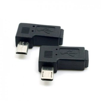 9mm Long Connector 90 Degree Left and Right Angled Micro USB 5PinMale to Mini USB Female Extension Adapter (Intl)