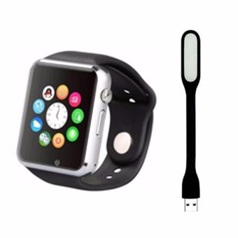 A1 Bluetooth Smart Watch With SIM Phone Call Take Selfie for iPhoneand Android (Black) with Led Lights Color May Vary
