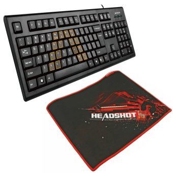 A4Tech B-070 Bloody Gaming Mousepad with A4Tech KRS-85 USB Wired Keyboard (Black)
