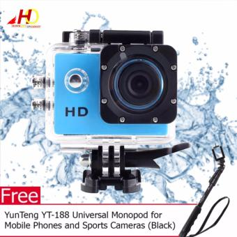A7 Ultimate Sports Action Cam Under Water Extreme (Blue) with FREEYunTeng YT-188 Universal Monopod for Mobile Phones and SportsCameras (Black)