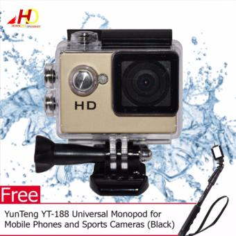 A7 Ultimate Sports Action Cam Under Water Extreme (Gold) with FREEYunTeng YT-188 Universal Monopod for Mobile Phones and SportsCameras (Black)