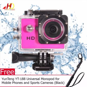 A7 Ultimate Sports Action Cam Under Water Extreme (Pink) with FREEYunTeng YT-188 Universal Monopod for Mobile Phones and SportsCameras (Black)