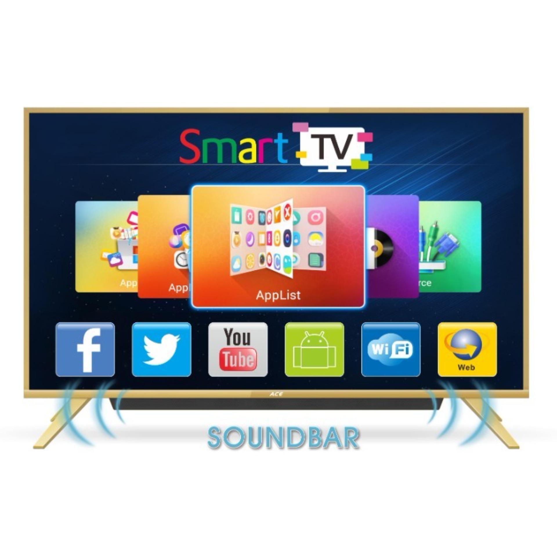 ace 49 aliminum slim full hd smart tv gold built-in soundbar led-605