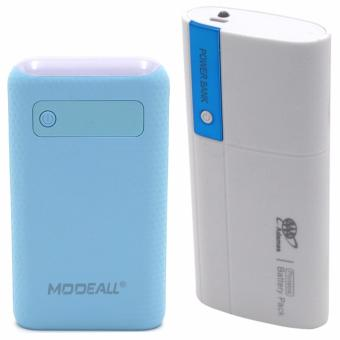 Adamas AAA 20000mah Power Bank Portable Power Battery Pack withFlashlight (White/Blue) With MODEALL M-03 20000mah LCD Display DualPort PowerBank with Flashlight (Light Blue)
