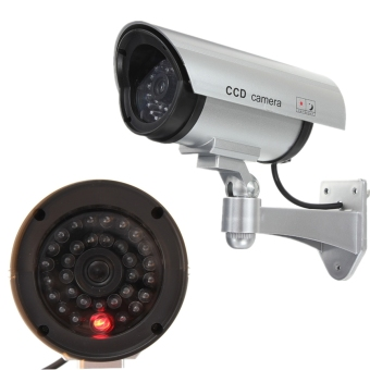 Adjustable Dummy Fake CCTV Security Camera w/ flashing LED Light In/outdoor