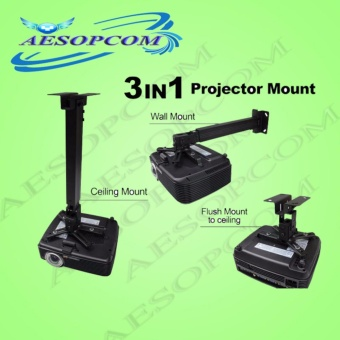 AESOPCOM 3 in 1 Ceiling/Wall/Flush Projector Bracket MOUNT(BLACK)