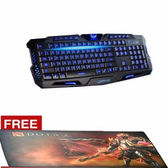 AESOPCOM M200 USB Gaming Keyboard with Three Color BacklightMultimedia Ergonomic (Blue/Red/Purple)FREE DOTA 2 SPEED 4 MOUSE PAD