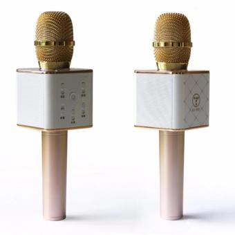 AK DREAM Q7 Mini KTV Karaoke Wireless Bluetooth Microphone with Mic Speaker Condenser (Gold)