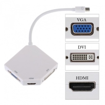 AK Mini DisplayPort Thunderbolt To DVI VGA HDMI 3-in-1 AdapterCable Converter for Notebook/Apple Mac Book/MacBook Pro/MacBookAir/Mac Mini/Surface Pro 1/2/3 (White) - 2