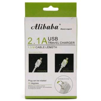 Alibaba Ali-562 1.5M Fast-Charging 90-Degree Rotation USB Travel Charger with LED Light for V8, Smartphone, Android, Tablet (White) - 2
