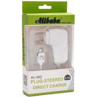 Alibaba Ali-562 1.5M Fast-Charging 90-Degree Rotation USB Travel Charger with LED Light for V8, Smartphone, Android, Tablet (White)