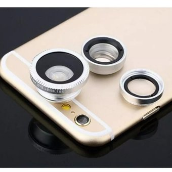 Allwin 180 Degree Fisheye+15x Macro Lenses +0.67x Wide Angle LensSelfie Camera Mobile Phone Lens Kit for iPhone or Andriodsmartphone (Silver) - intl