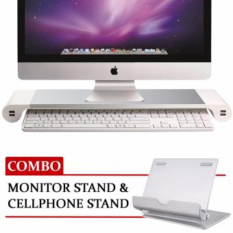 Aluminum Desktop Monitor Stand and adjustable Cellphone Stand Combo