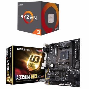 AMD Ryzen 3 1300X (Quad-Core, 3.7 GHz Boost) Processor with WraithStealth Cooler and Gigabyte GA-AB350M-HD3 AMD B350 (Socket AM4)DDR4 Micro ATX Motherboard Bundle