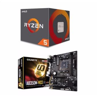 AMD Ryzen 5 1400 3.2 GHz Quad-Core AM4 Processor with GIGABYTE GA-AB350M-HD3 AM4 AMD B350 SATA 6Gb/s USB 3.1 HDMI Micro ATX AMD Motherboard Bundle