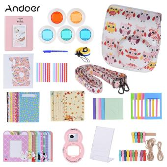 Andoer 14 in 1 Accessories Kit for Fujifilm Instax Mini 8/8+/8s w/Camera Case/Strap/Sticker/Selfie Lens/5*Colored Filter/Album/3Kinds Film Table Frame/10*Wall Hanging Frame/40*BorderSticker/2*Corner Sticker/Pen Outdoorfree - intl