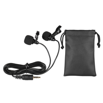 Andoer 150cm Cellphone Smartphone Mini Dual-Headed Omni-DirectionalMic Microphone with Collar Clip for iPad iPhone5 6s 6 PlusSmartphones - intl - 2