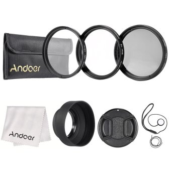 Andoer 49mm Camera Lens Filter Kit(UV+CPL+Star+8) with Lens Accessories - INTL