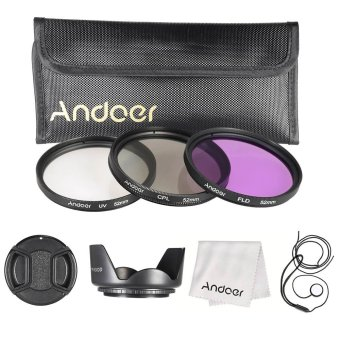 Andoer 52mm Filter Kit (UV+CPL+FLD) + Nylon Carry Pouch/LensCap/Lens Cap Holder/Lens Hood/Lens Cleaning Cloth