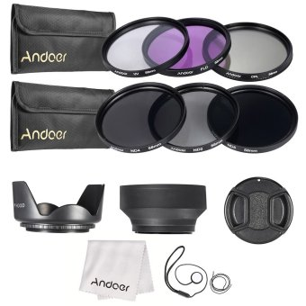 Andoer 58mm Lens Filter Kit UV+CPL+FLD+ND(ND2 ND4 ND8) with CarryPouch / Lens Cap / Lens Cap Holder / Tulip & Rubber Lens Hoods/ Cleaning Cloth