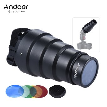 Andoer Conical Snoot Light Modifier w/ 50 Degree Honeycomb Color Filter for Neewer Canon Nikon Yongnuo Godox Meike Vivitar Photography On-camera Speedlite Speedlight - intl