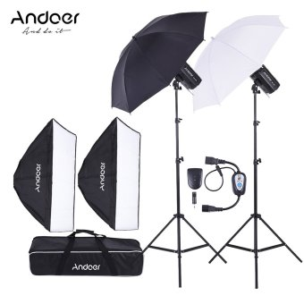 Andoer MD-300 600W (300W * 2) Photo Studio Monolight Strobe Flash Light Softbox Lighting Kit with Light Stand Softbox Lambency Umbrella Flash Trigger Carrying Bag for Video Shooting Location and Portrait Photography - intl