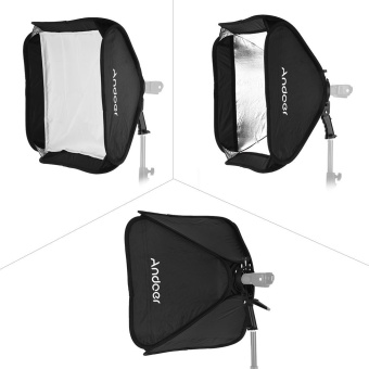Andoer Photo Studio Multifunctional 40 * 40cm Folding Softbox with S-type Handheld Flash Speedlite Bracket with Bowens Mount and Carrying Bag for Portrait or Product Photography - intl - 2