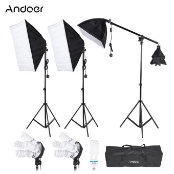 Andoer Photography Studio Portrait Product Light Lighting Tent Kit Photo Video Equipment(3 * Softbox+2 * 4in1 Light Socket+Cantilever Stick+8 * 45W Bulb+1 * 135W Bulb+3 * Light Stand+1 * Carrying Bag) UK Plug 220V - intl
